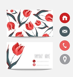 Oil painted business card vector image