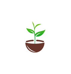 seed plant green ecology logo vector image vector image