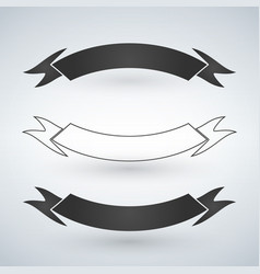 set of black and white ribbons flat design vector image