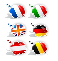 Speech bubbles with symbols national flags vector image