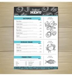 Vintage chalk drawing seafood menu design vector image