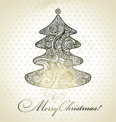 Christmas tree hand drawn design vector image vector image