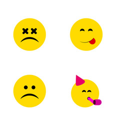 flat icon face set of cross-eyed face sad vector image vector image