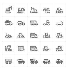 mini icon set - construction machine icon vector image