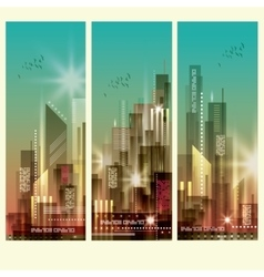 Modern cityscapes 3 vertical banners vector image