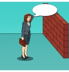 Pop Art Business Woman in Front of a Brick Wall vector image vector image