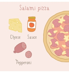 Salami pizza ingredients vector image vector image