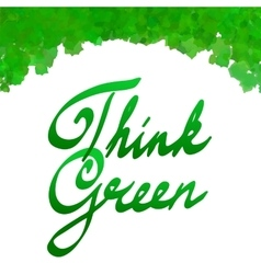 think green with watercolor leaves frame vector image vector image