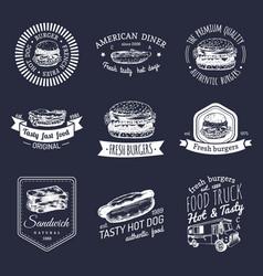 Vintage fast food logo set retro quick vector