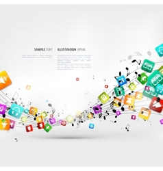 Abstract music background with notes and app icons vector image