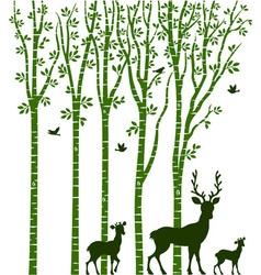 Birch Tree with Deer vector image vector image