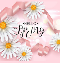 hello spring pink background with daisy flower vector image