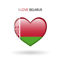 love belarus symbol flag heart glossy icon on a vector image