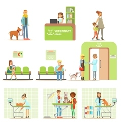 Smiling Cartoon Characters Bringing Their Pets For vector image vector image