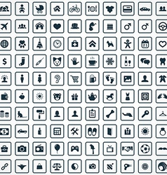 100 family icons vector image