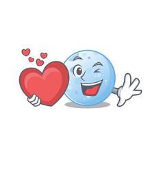 A sweet blue moon cartoon character with heart vector