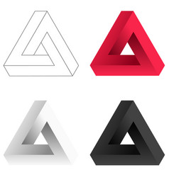 Abstract impossible triangle set vector