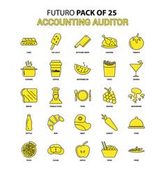 Accounting auditor icon set yellow futuro latest vector