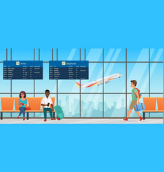 Airport waiting room departure lounge with chairs vector