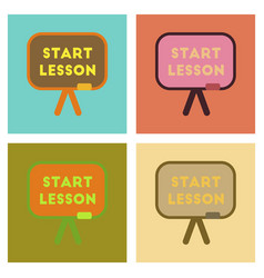 Assembly flat icons board start lesson vector