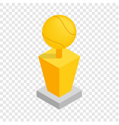 Award tennis ball trophy cup isometric icon vector