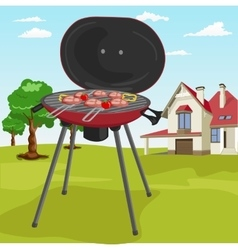Barbecue stuff in garden with classic cottage vector