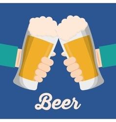 Beer glass drink and hands design vector image