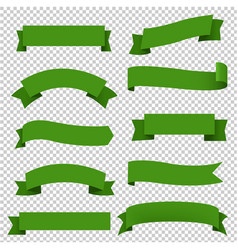big green ribbons set transparent background vector image
