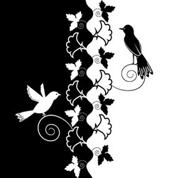 Black white ornament of flowers and birds vector image