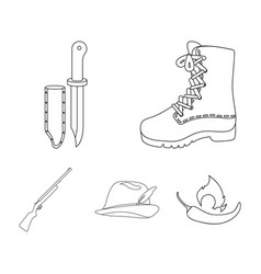 boots knife with a cover gun hat with a feather vector image