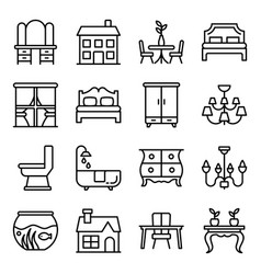 Building decor line icons pack vector
