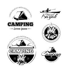 Camping and hiking labels emblems badges vector image