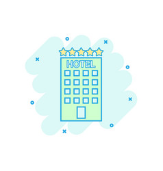 cartoon colored hotel icon in comic style motel vector image