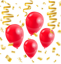 Celebration party red balloons confetti ribbon vector