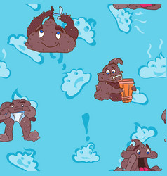 Childish design seamless pattern with poops vector