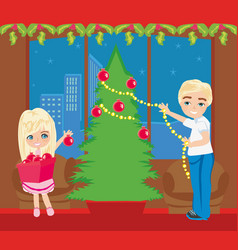 Children decorate the christmas tree vector