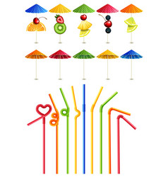 cocktail straws and umbrellas vector image
