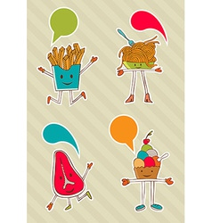 Colourful food cartoons with dialogue balloon vector image