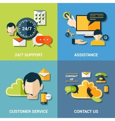 Contact us flat icons composition vector image