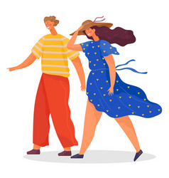 Couple walking and wind walkers in windy weather vector