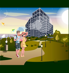 couple walking street urban vector image