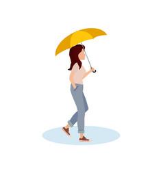 cute girl walking with umbrella vector image