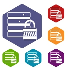 Database with padlock icons set vector image