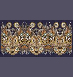 Decorative floral stripe pattern ethnic paisley vector