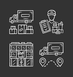 delivery chalk icons set heavy goods shipping vector image