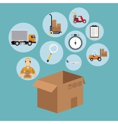 delivery concept cardboard box collection icons vector image