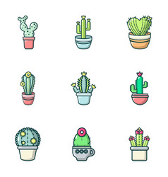 Different cactus icons set outline style vector