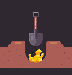 Dig a hole with a shovel and find gold treasure vector