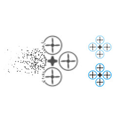 Disappearing pixelated halftone quadcopter icon vector