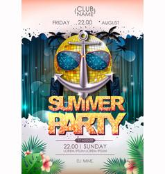 disco background disco ball summer beach party vector image
